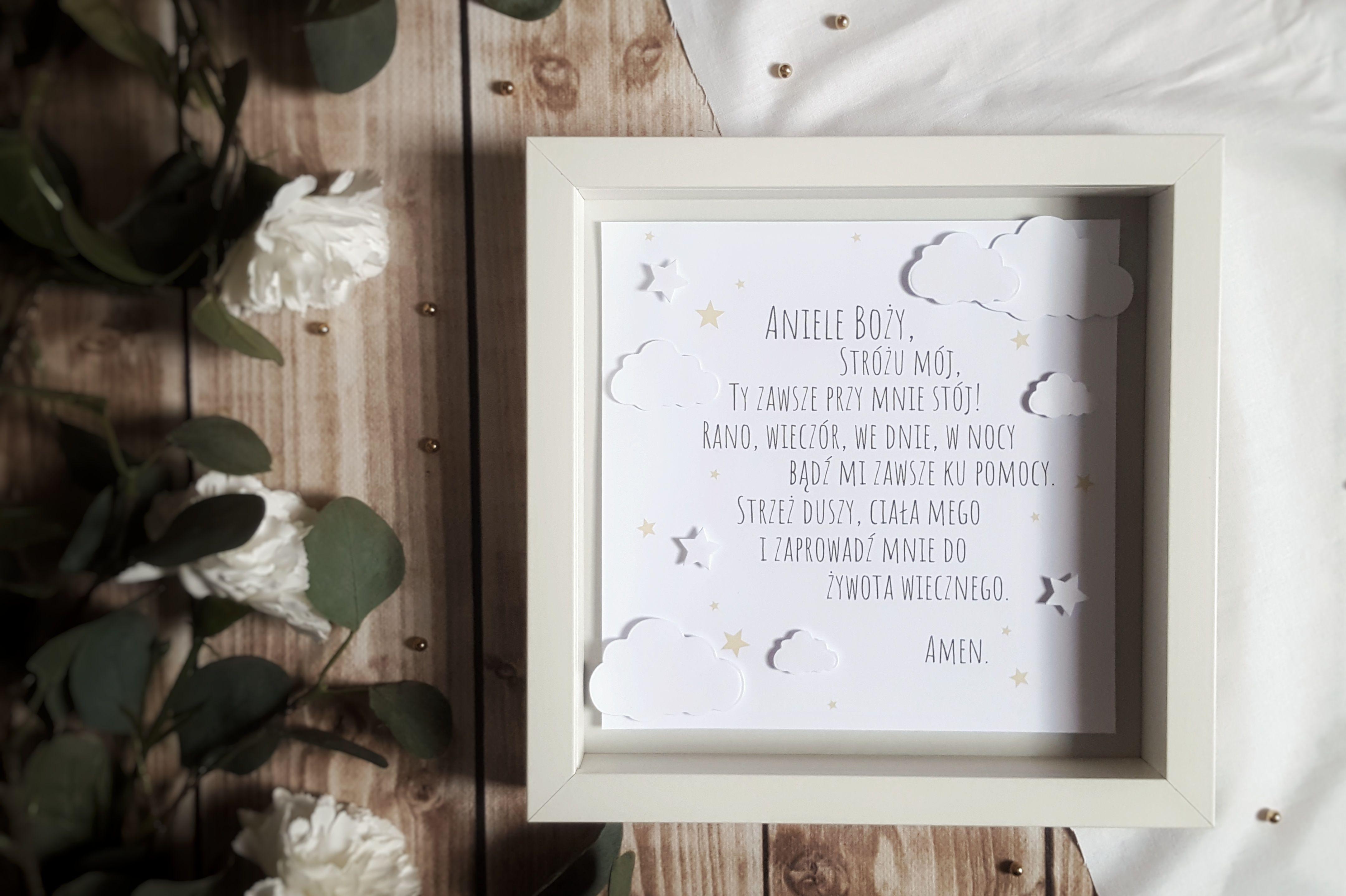 Ramka Z Modlitwa Aniele Bozy Dla Dziecka Prezent Na Narodziny Dziecka Chrzest Swiety Roczek Frame Home Decor Decor