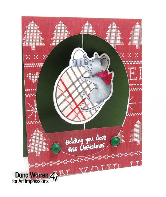 Art Impressions Rubber Stamps: Ai Spinners: 4693 – Mouse Spinner Dies4674 – Mouse Spinner ... handmade card with ornament. Christmas