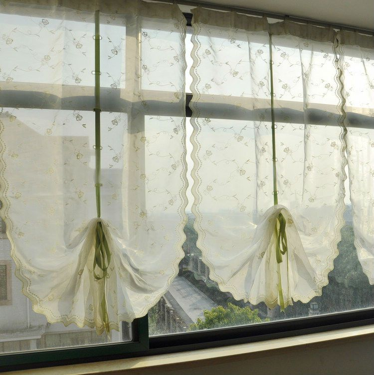 Kitchen Window Drawing: Riband Draw String Embroidered Retractable Curtains, Lace Curtain Panels,Free Shipping-in