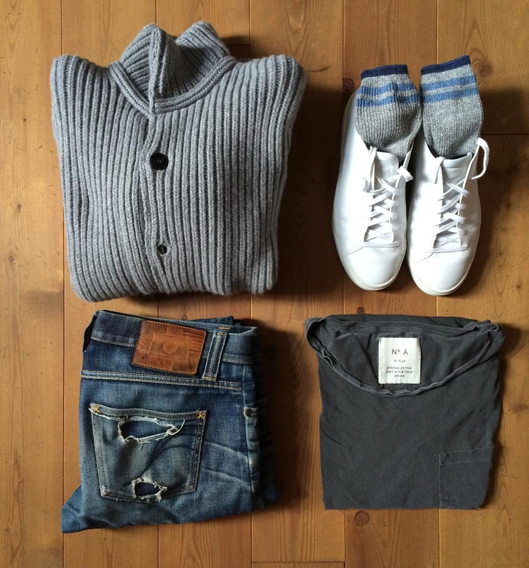 Look of the day: casual #imperialdenim #selfedge #grpknitwear #fluxmelbourne #vorprodukte #ues