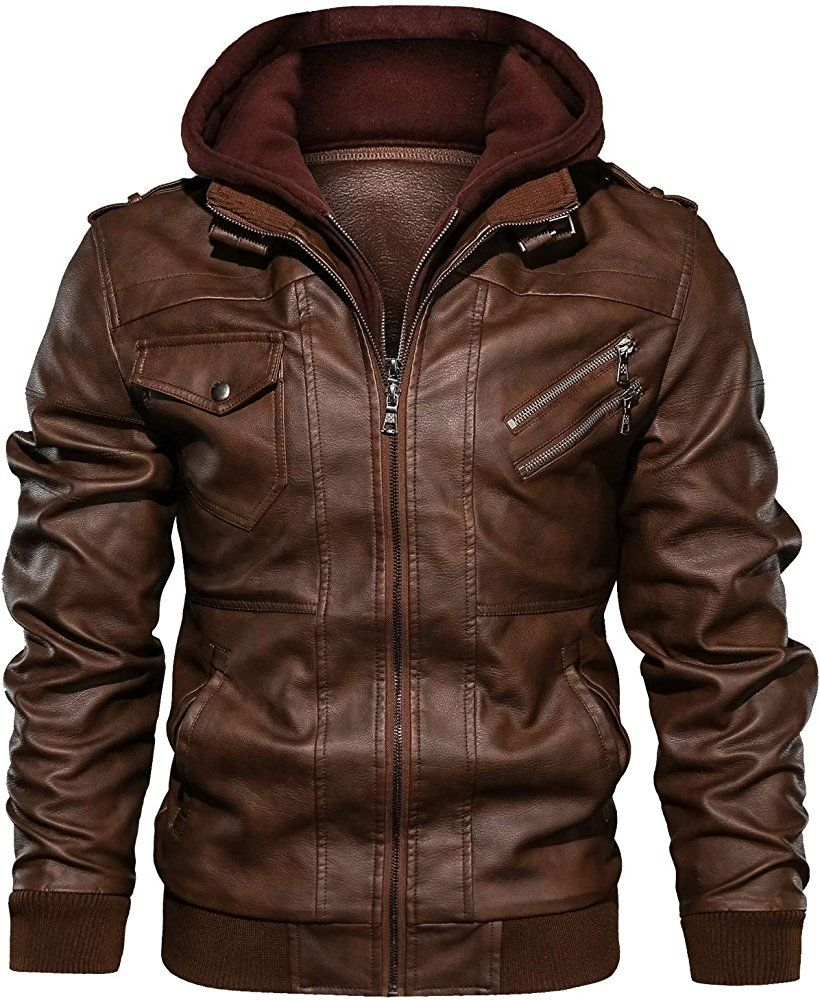 JYG Men's Faux Leather Motorcycle Jacket with Removable