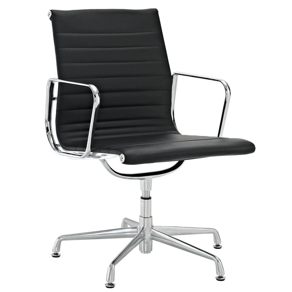 Eames Management Chair Reproduction Full Leather With Glides