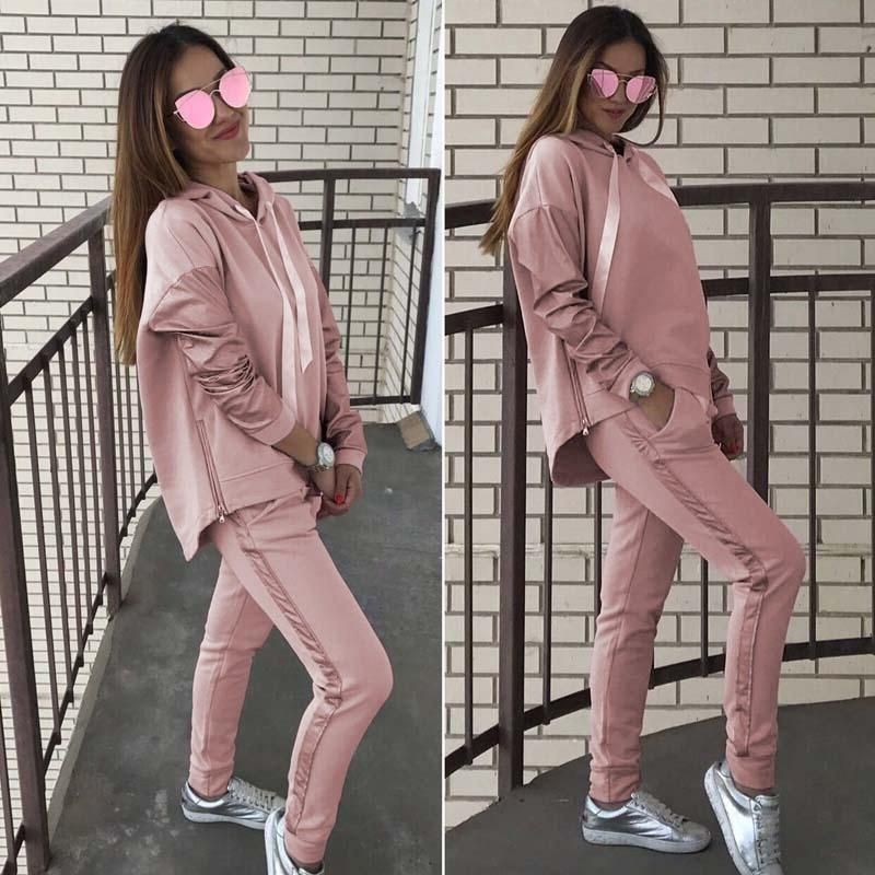 Womens Ladies Melange Loungewear 2 piece Set Sweatshirt Joggers Tracksuit pants