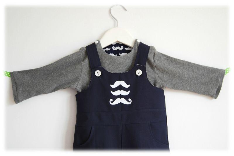 Mr. Moustache salopette et t-shirt - Ottobre design et esprit kimono pour les petits