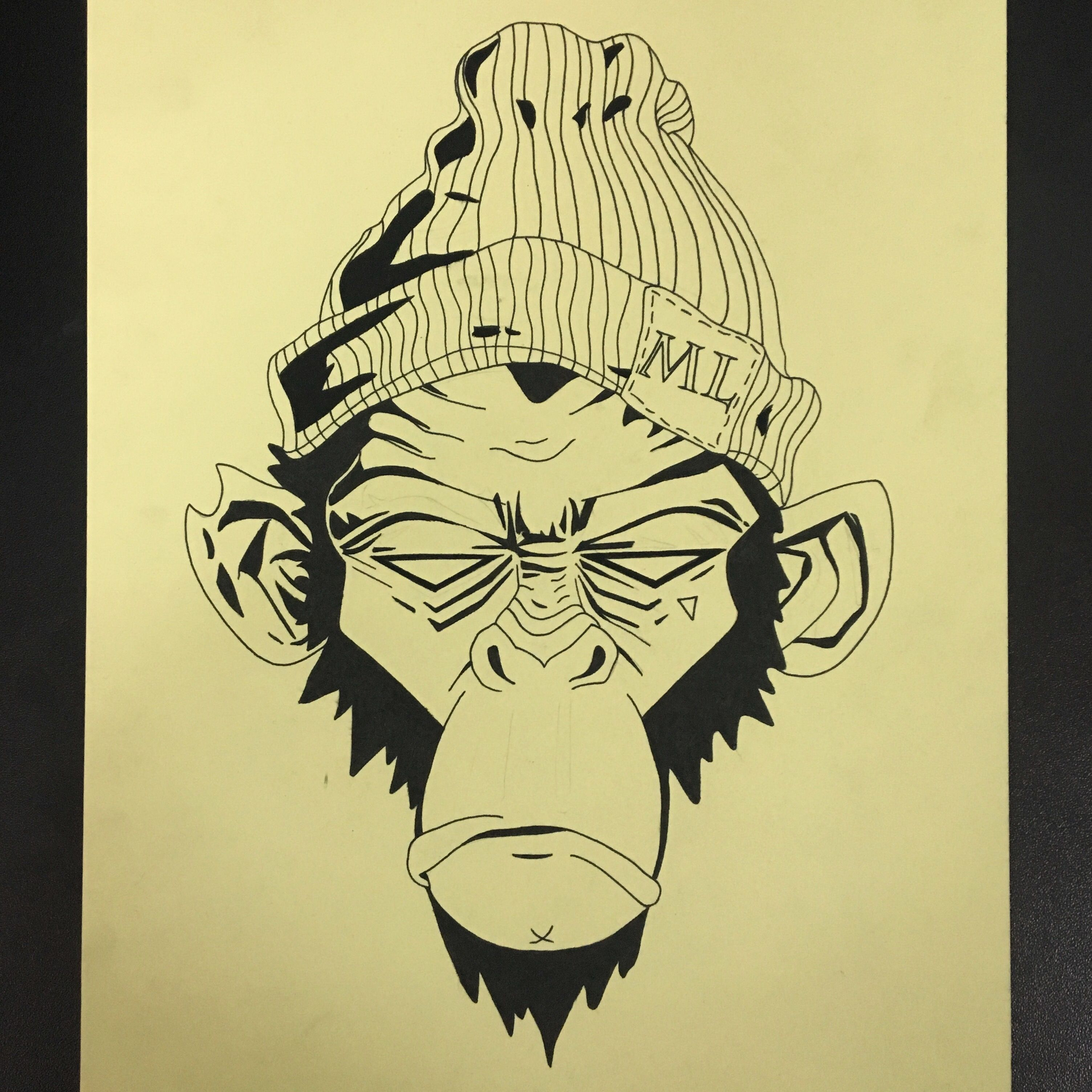 Monkey sketch sketchbook tuesday drawing draw chimpanzee tattoo tattoos jungle cap animal animals cartoon holdfastpainting