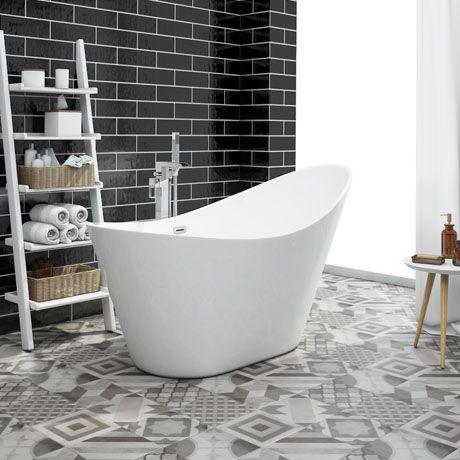 nova 1570 modern small free standing slipper bath