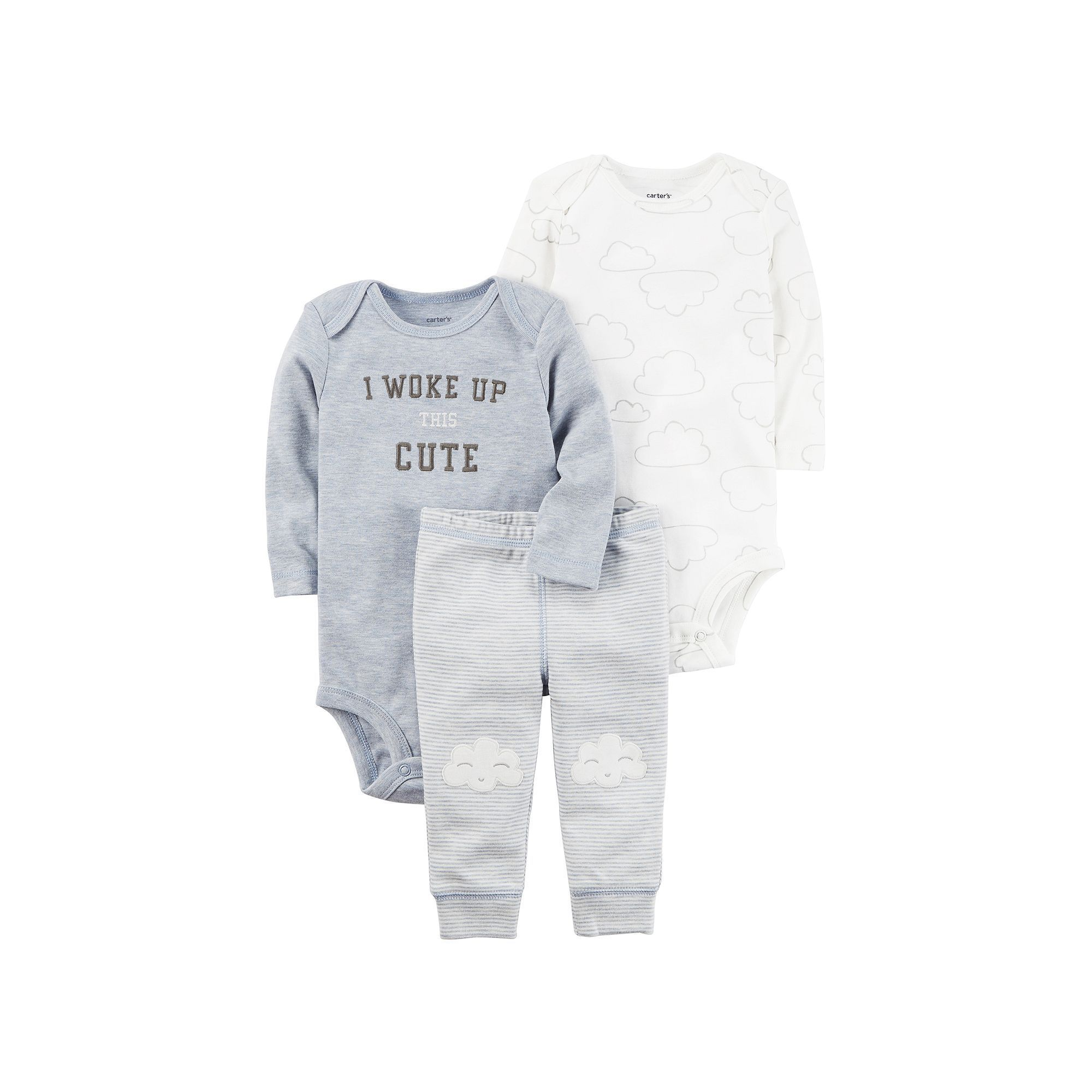 "Baby Boy Carter s Cloud Bodysuit ""I Woke Up This Cute"" Bodysuit"
