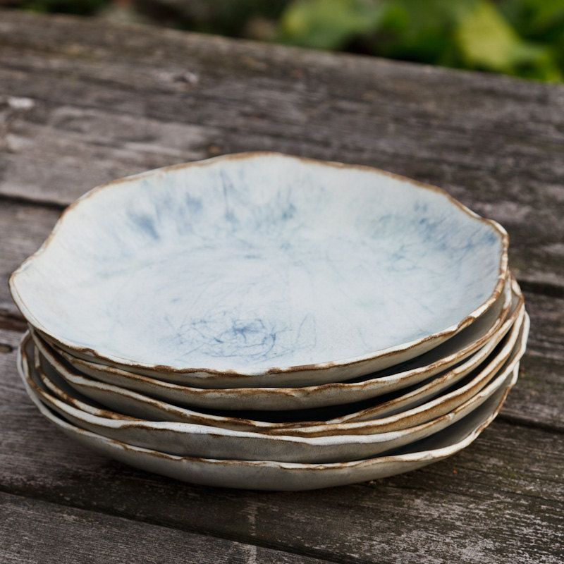 9 inch Dinner Plate, circles in copper and blue | dish ...