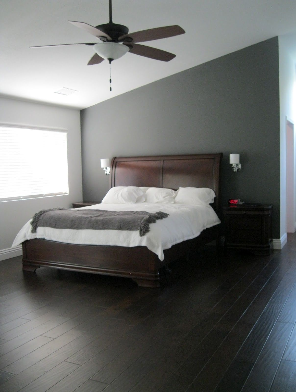 Image Result For Grey Walls And Dark Wood Floors Grey Bedroom Design Bedroom Color Schemes Dark Wood Bedroom Furniture