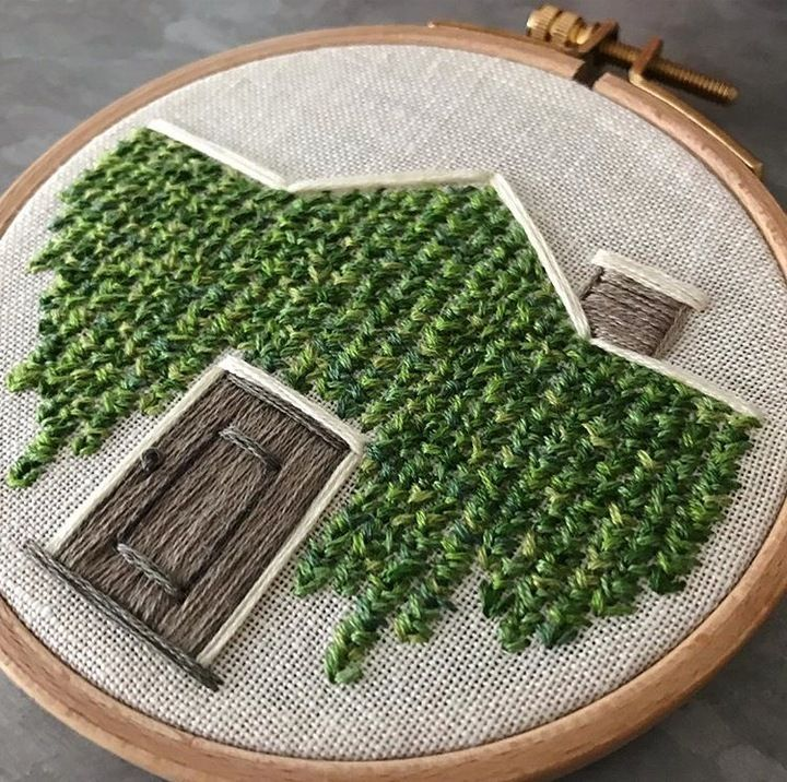 Only @noraknoxembriodery could make a stitched vine-covered home feel enchanting!