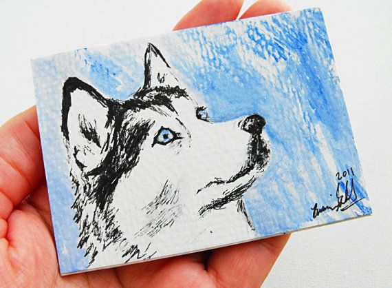 Husky  fridge magnet original painting by Brianna of treehugginlovin on Etsy