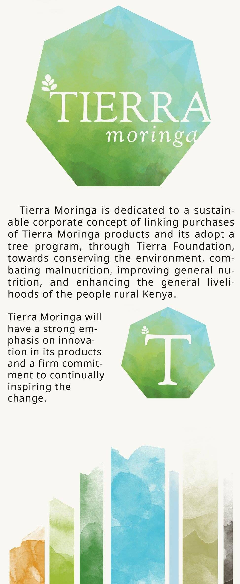 Branding board for Tierra Moringa, a socially responsible