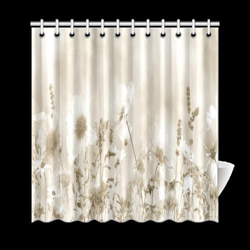 Beige Shaded Wildflower Shower Curtain Stellasaksa Spring Beige