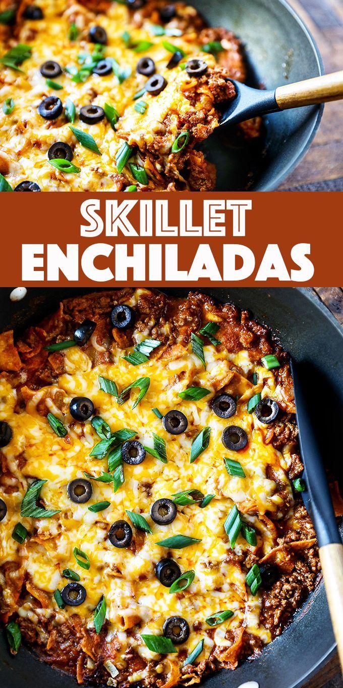Skillet Enchiladas Easy Enchilada Recipe In 2020 Easy Enchilada Recipe Easy Enchiladas Recipes
