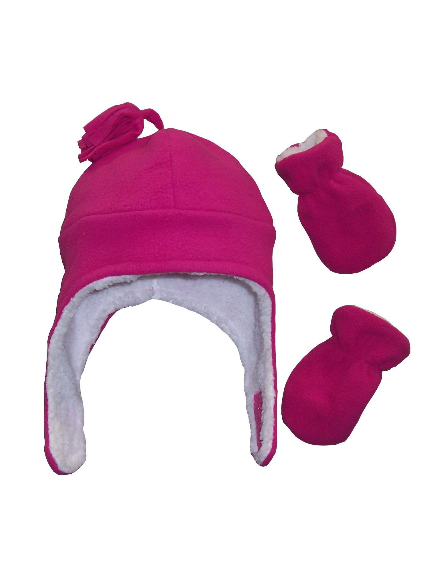 NIce Caps Little Girls and Baby Warm Sherpa Lined Hat Mitten Winter Set