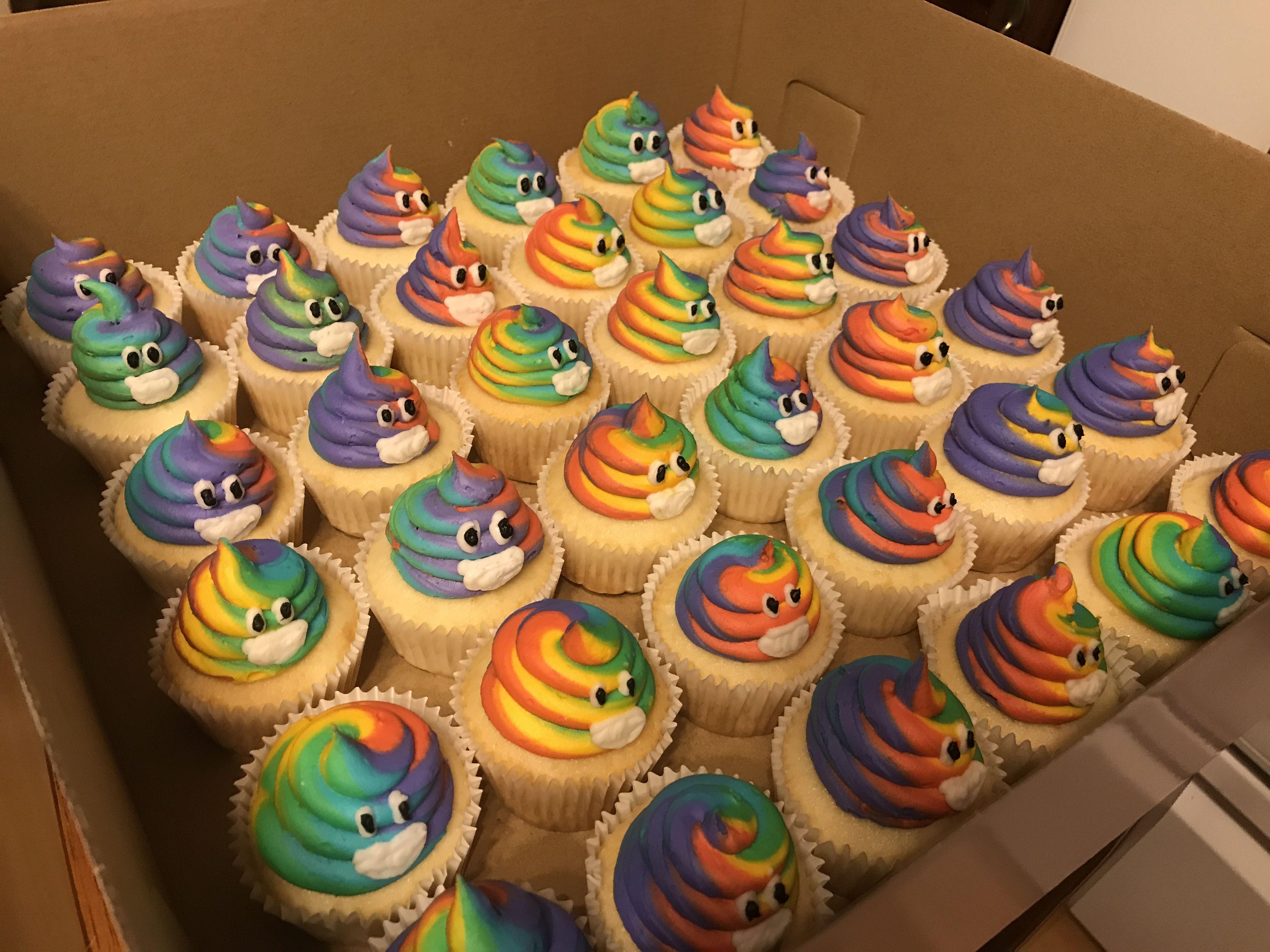 Tie Dye Rainbow Poop Emoji Cupcakes