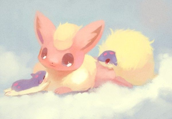 Tags: Anime, Pokémon, Nintendo, Flareon, Quilava, Adorably Cute, No People