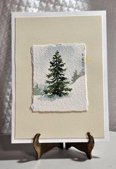 Original Miniature Watercolor Painting Winter Tree By Celestesneed