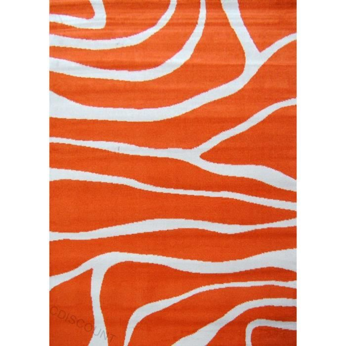 25€ paradise tapis salon 120x160 cm orange/beige - Achat ...