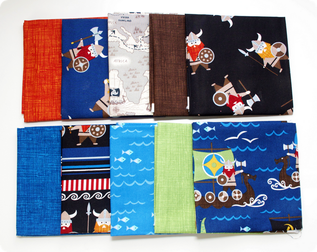 Organic Vikings by Timeless Treasures cotton fabric giveaway - 10 fat quarters!  Ends 7/17
