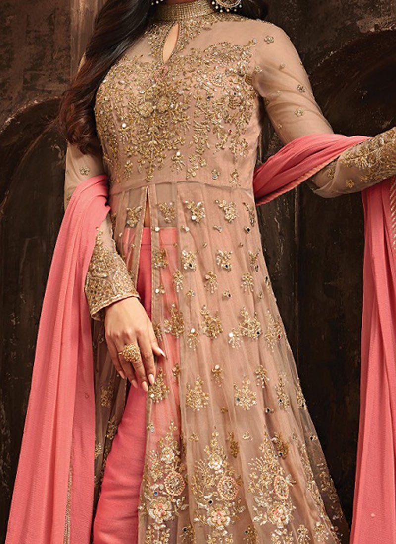 Buy Beige Embroidered Anarkali Suit, Embroidered, anarkali suit Online Shopping | SLSCCH5704 #indiandesignerwear