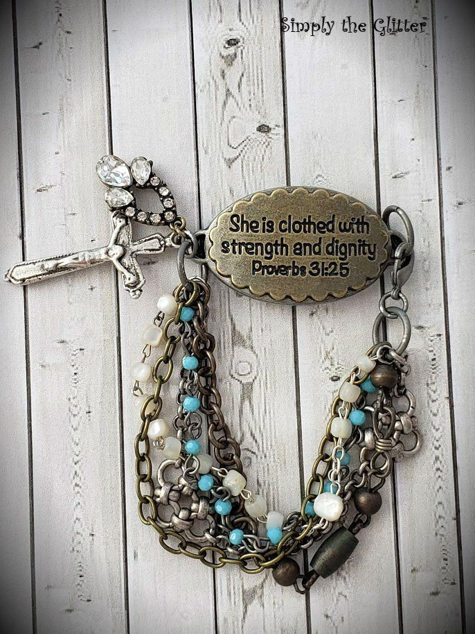 She is Clothed in Strength Assemblage Bracelet, Rosary Jewelry, Faith and Religious, Repurposed and Upcycled Jewelry by Simply the Glitter #rosaryjewelry