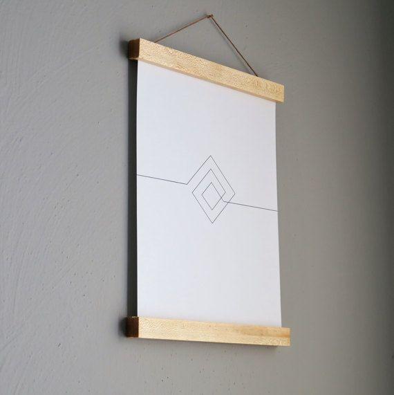 Magnetic Poster Hanger, Wood Poster Hanger, Solid Maple Wood, Print ...