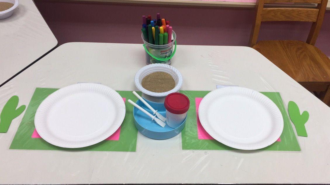 الركن الفني لوحدة الرمل يقوم الطفل بوضع غراء على الصحن الورقي قم رشه بالرمل ومن ثم تثبيت الصبار في الصحن بالغراء ثم يقوم بعمل اش Art For Kids Kindergarten Kids