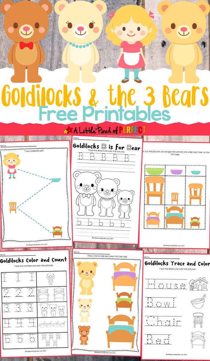 free goldilocks the three bears printables kindergarten fairy tale activities goldilocks. Black Bedroom Furniture Sets. Home Design Ideas