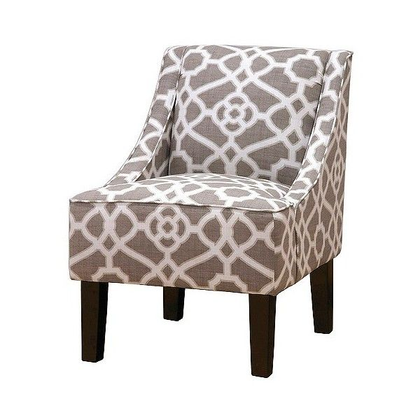 Upholstered Chair: Skyline Hudson Swoop Chair   Prints, Pavillion Fretwork  Dove Featuring Polyvore,