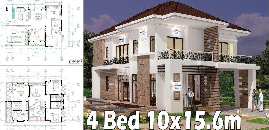 4 Bedroom Home Plan Full Exterior And Interior 10 15 6m Model House Plan Home Design Plans Modern Villa Design