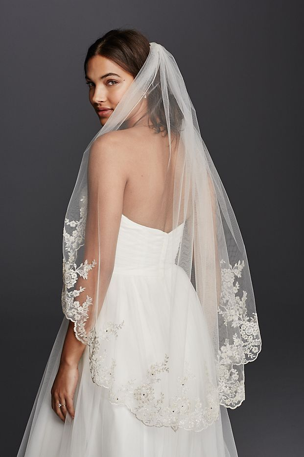 Photo of Mid Veil with Scalloped Edges and Lace | David's Bridal
