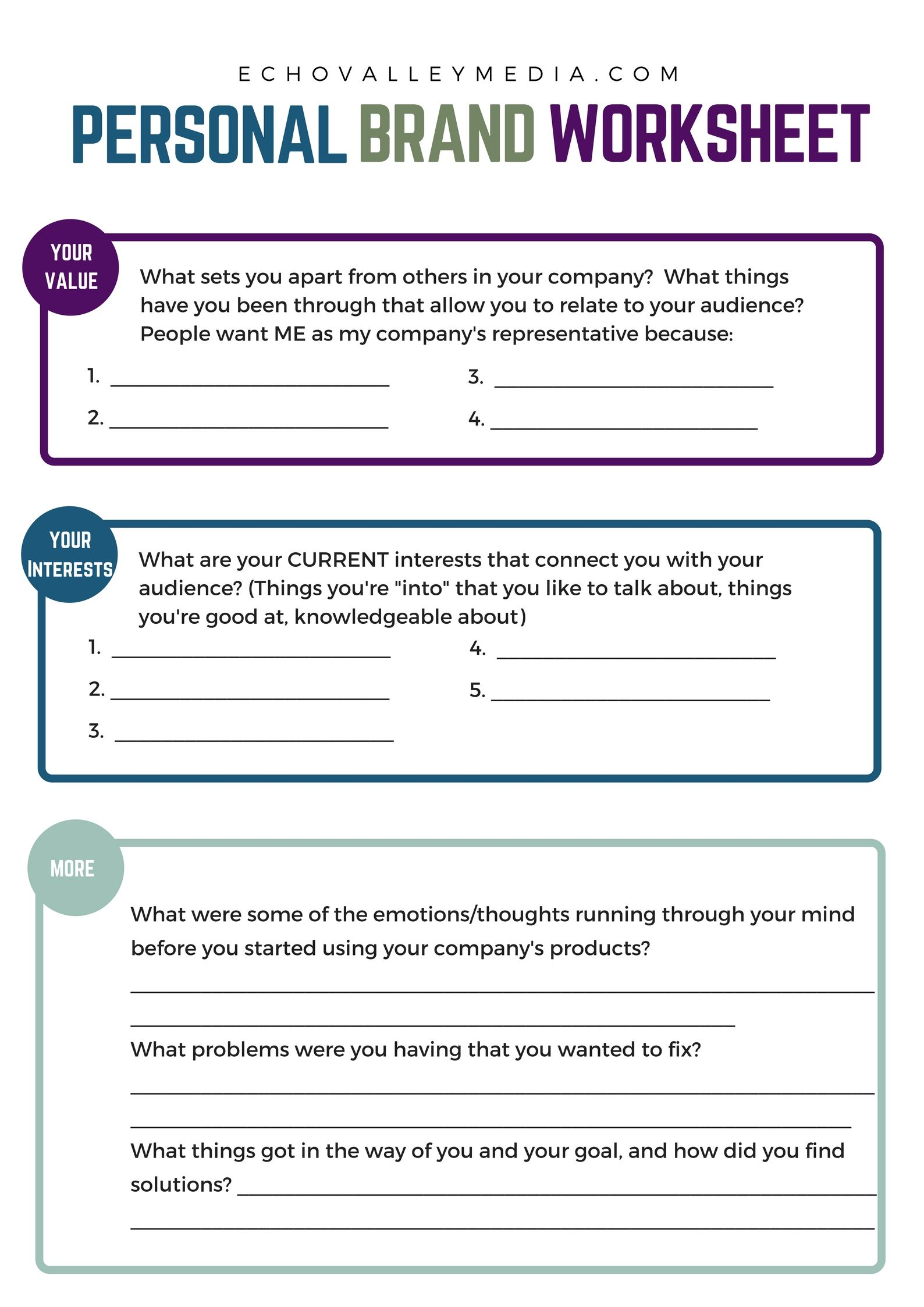 Personal Brand Worksheet For Network Marketers