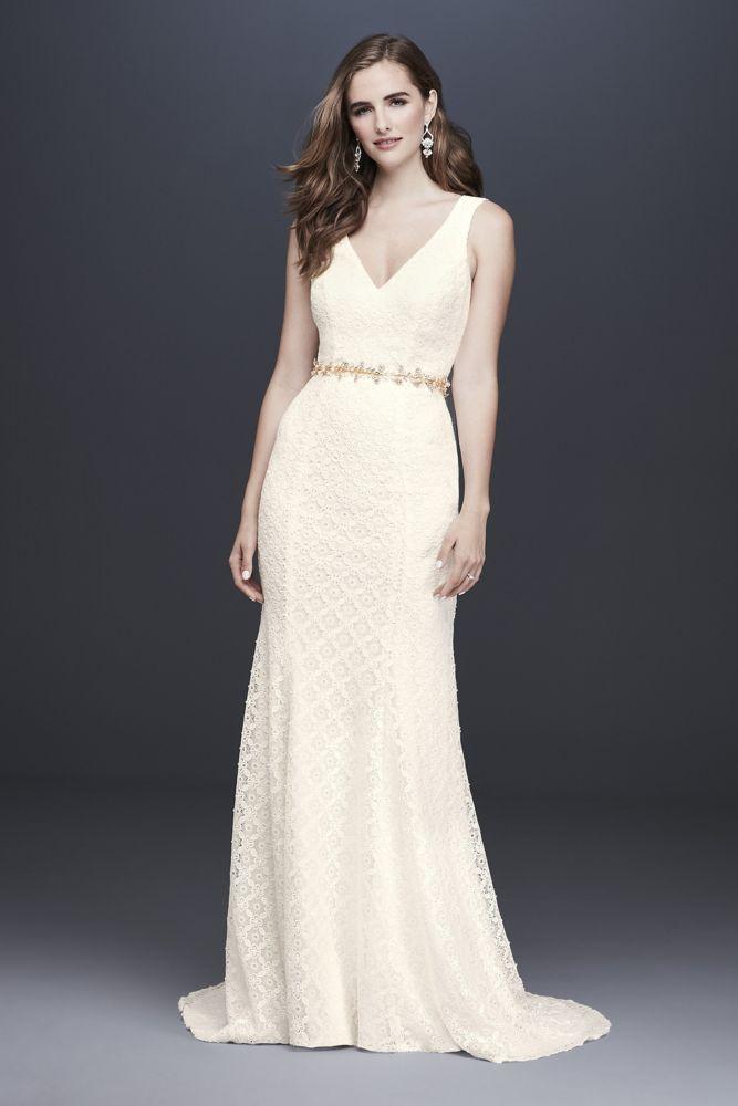 Geometric Lace VNeck Sheath Wedding Dress Style WG3924 Ivory 8dress