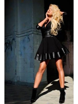 1e32195895d Just Unique Cayla Black PVC Plunge Neck Skater Dress www.koo-ture ...