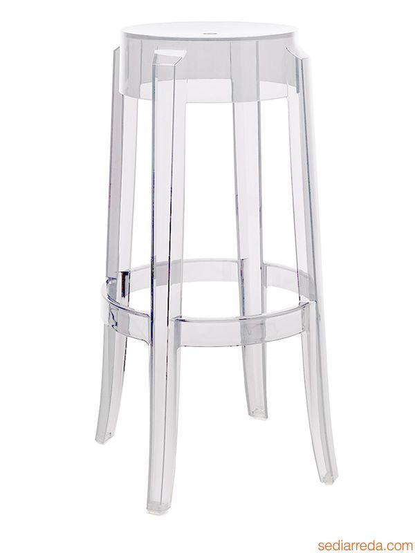 Charles Ghost | Sgabello Kartell di design, policarbonato trasparente, altezza 75 cm
