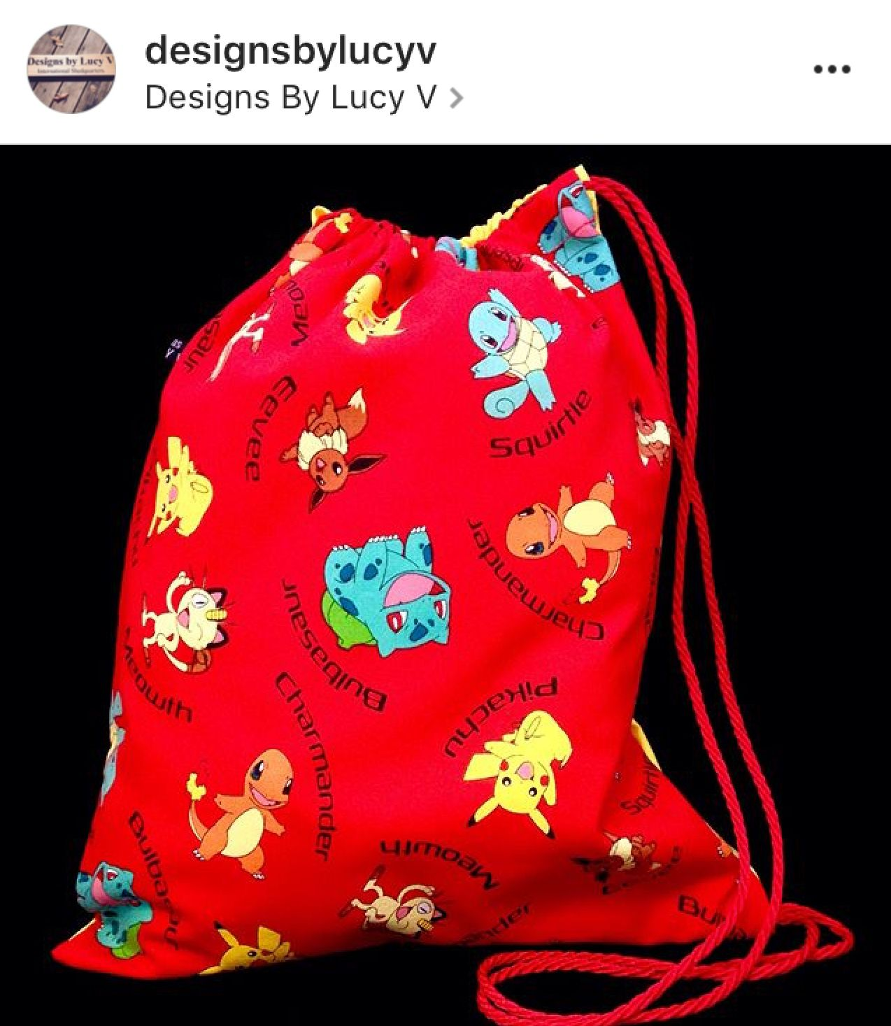 cf05d3bb0ea7 Custom order Pokémon drawstring bag. See this and more at  www.designsbylucyv.com