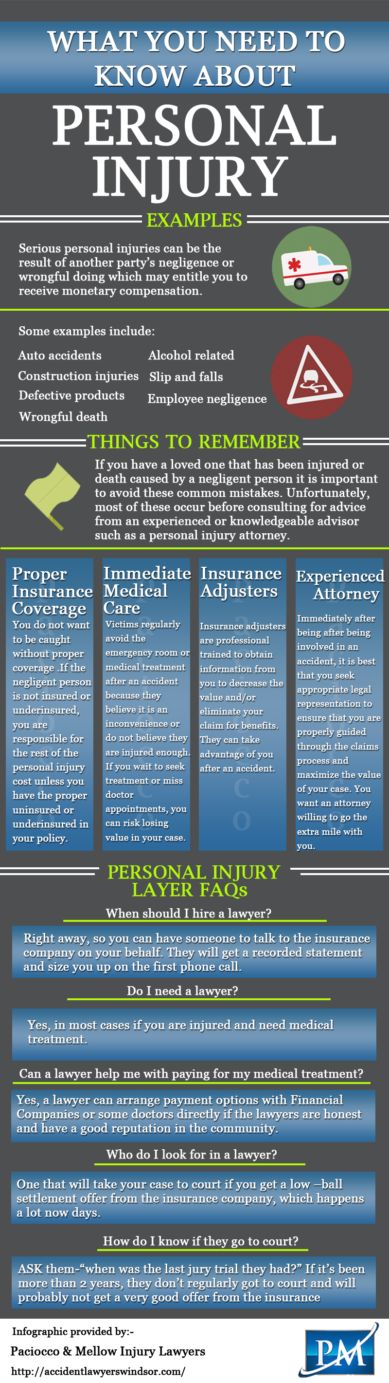 At Paciocco Mellow We Handle Many Different Types Of Injury Law
