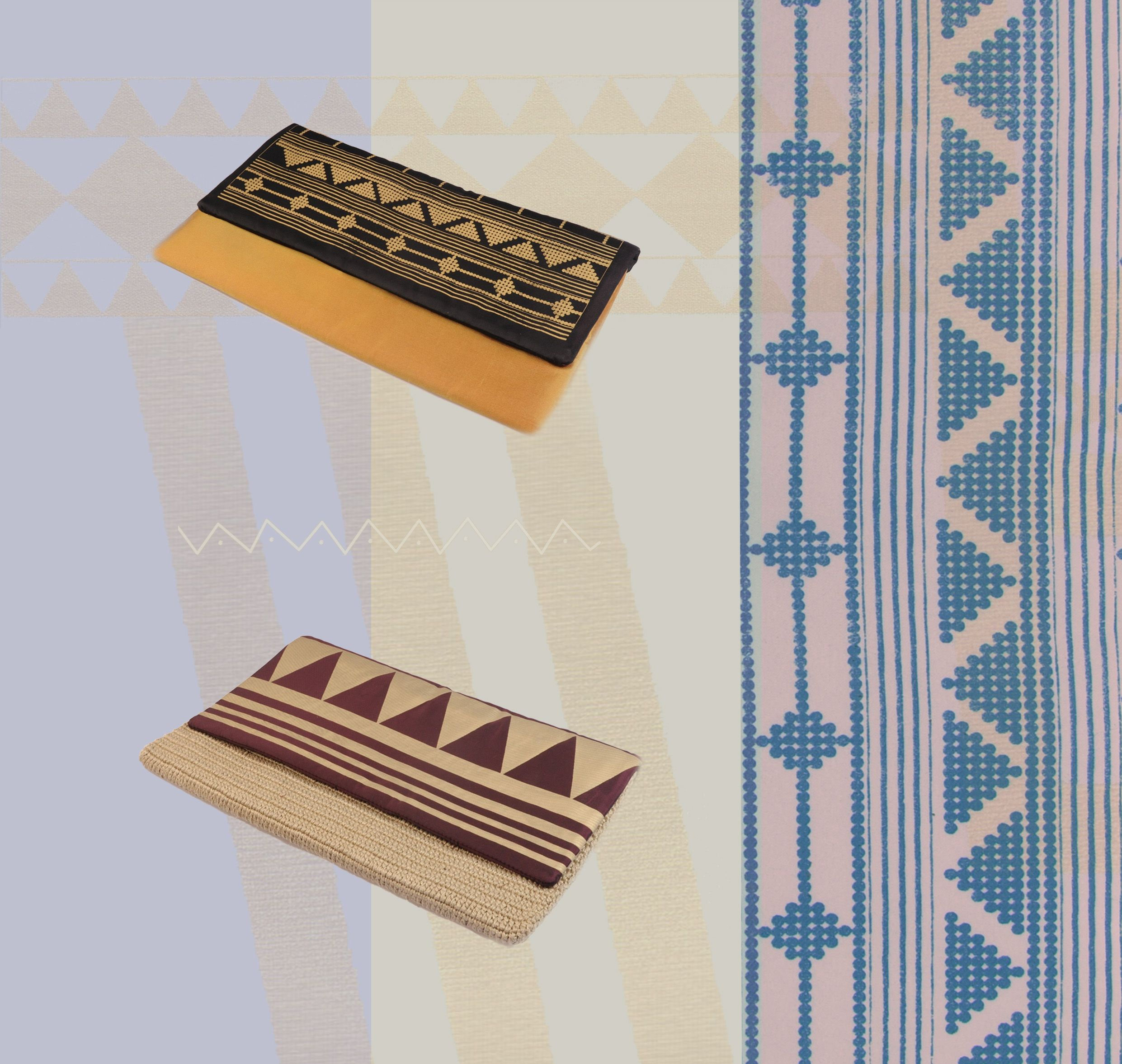 نقوش من الفن التراثي السعودي تزين مجموعة من حقائب سليسلة الخفيفة والمصنعة من الأقمشة الفاخرة أو الكروشيه Bags Tie Clip Accessories