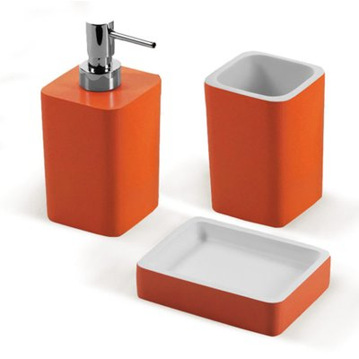 Gedy By Nameeks Arianna 3 Piece Bathroom Accessory Set Color Orange