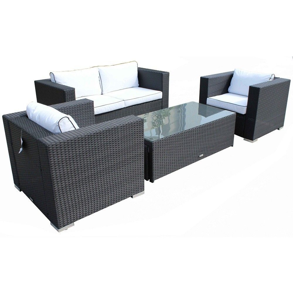 Ascot 2 Seater Sofa Set In Black And Vanilla