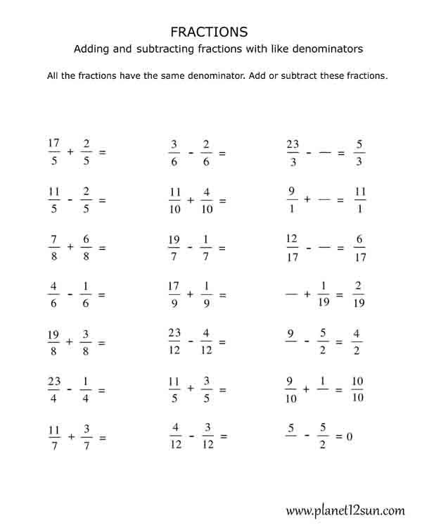 4th Grade Adding and Subtracting Fractions with the Same – Subtracting Fractions with Same Denominator Worksheets