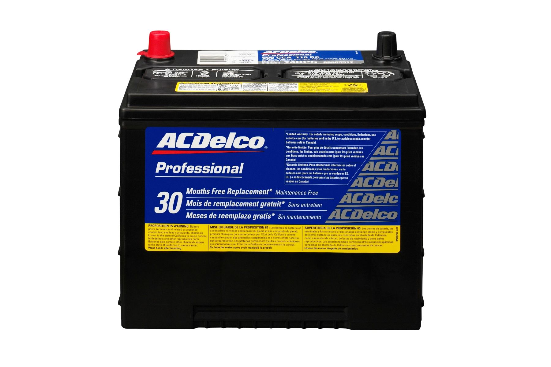 Battery Silver Left Acdelco Pro 24rps Car Truck Parts Charging Starting Systems Batteries