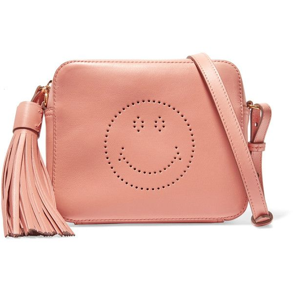 Anya Hindmarch Smiley perforated leather shoulder bag ($735) ❤ liked on Polyvore featuring bags, handbags, shoulder bags, antique rose, red handbags, genuine leather shoulder bag, pink purse, red shoulder bag and leather purses