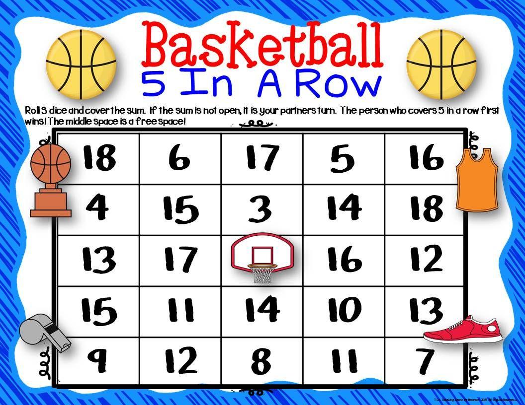 Basketball Math Center Dice Games Basketball math, Math