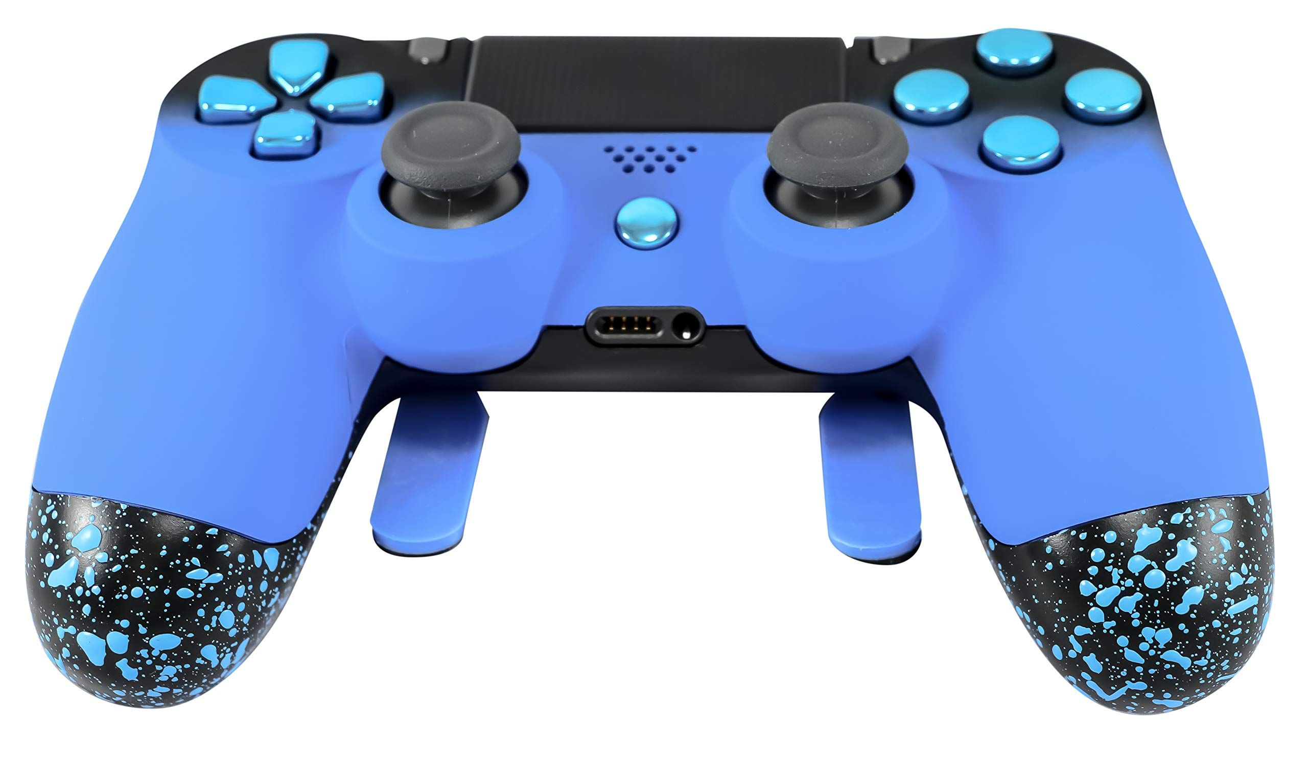 PS4 Elite Controller Soft Touch Blue Chrome Custom with