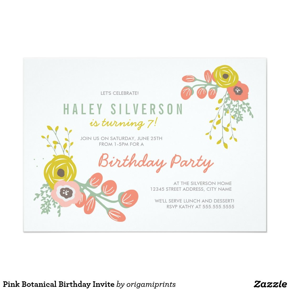 Pink Botanical Birthday Invite | BIRTHDAYS: Floral Invitations ...