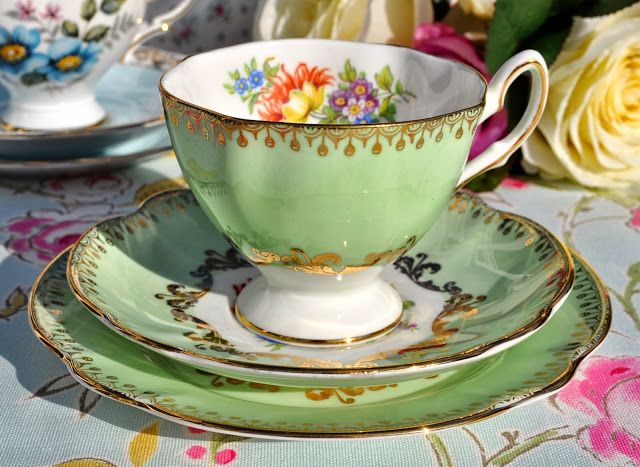 Salisbury green and gold floral vintage teacup trio