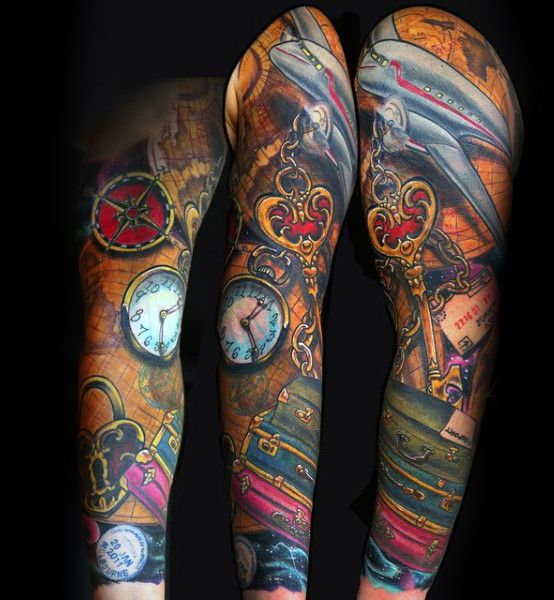 Colorful sleeve tattoo designs