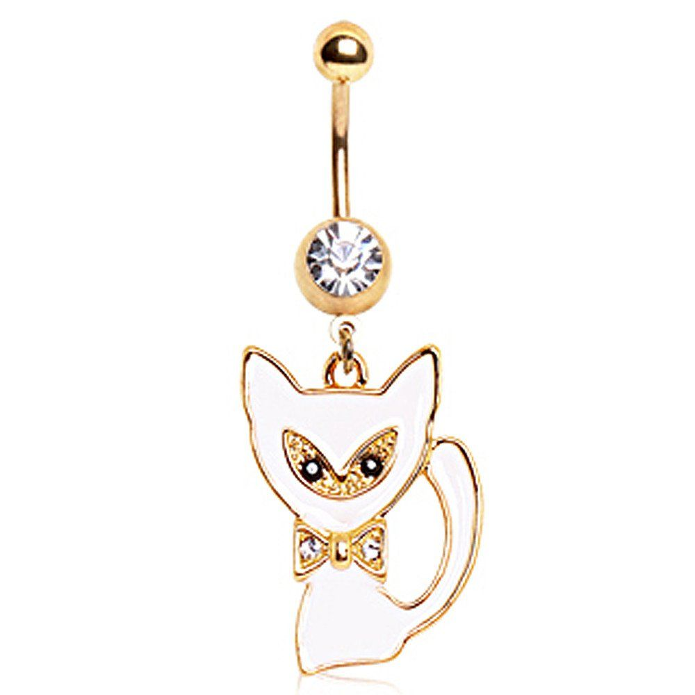 Gold Plated White Cat Navel Ring #BellyRing #Cat #Cats #CatBellyRing #BodyMod #BodyModification #Piercings